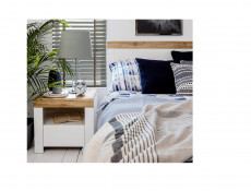 Scandinavian European Small Double Bed Frame with Headboard & Solid Wood Bed Slats White/Oak - Holten