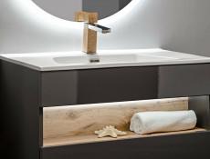 Modern Grey Gloss Wall Vanity Cabinet 600 Unit with Designer Oak Shelf LED Light 60cm Ceramic Sink - Bahama