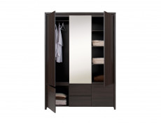 Modern Large Three Door Triple Wardrobe Wenge - Kaspian (S128-SZF5D2S-WE/WE-KPL01)