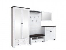 Shoe Cabinet Bench Hallway Entrance Hall Unit & Brown Cushion - Antwerpen (KOM1S/5/10)