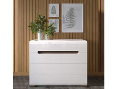Wide Chest of Drawers White Gloss or Oak - Azteca