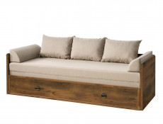 Modern 3 Seater Sofa Converts to King Size Bed Cottage Farmhouse Style in Dark Oak Effect - Indiana (S31-JLOZ80/160-DSU-SET)