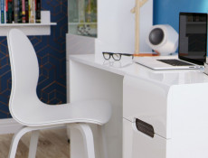 White High Gloss Office Study Desk with Drawer & White / Brown Wenge / Black Gloss inserts - Azteca Trio