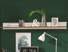 Scandinavian White/Walnut finish Wall Mounted Display Panel Floating Display Shelf - Heda