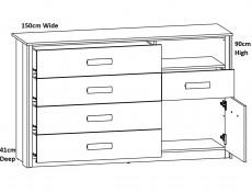 Elegant King Size Bedroom 3-Piece Set Built-in Lift Up Storage Bedside Cabinets Units with Lighting Oak/Black - Kassel