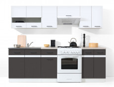 Free Standing White Gloss/Grey Kitchen Cabinets Cupboards Set 7 Units - Junona (K24-JUNONA_MODUL/240-BI/BIP/SZW/INC-KPL01)