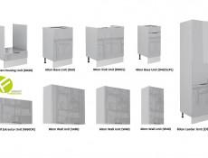Light Dove Grey Gloss Kitchen Cabinets 9 Unit Set with 60cm Larder & Oven Housing - Luna (STO-LUNA_SET-7UNITS-DK-60CMSL-SZ-SZP)