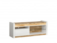 Modern White Gloss Media Table TV Stand Storage Cabinet Unit with LED Lights Oak finish top - Alameda