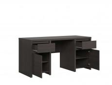 Modern Wide Desk Office Study Computer Wenge Dark Wood 160cm - Kaspian (S128-BIU2D2S/160-WE/WE-KPL01)