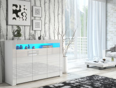 Large White High Gloss Sideboard Modern 3 Door Unit with Display Cabinet Shelf RGB LED Light - Lily (HOF-LILY-3D_BI-BIP-KP01+RGB)