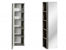 Modern Tall Bathroom Mirror Cabinet Shelving Storage Unit Grey Matt/Grey Gloss  - Twist