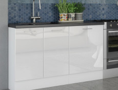 Modern White High Gloss Kitchen Cabinets Cupboards Set of 8 Units with Oven Housing 240cm - Rosi (STO-ROSI_SET-8UNITS_DK_2.4-BI-BIP)