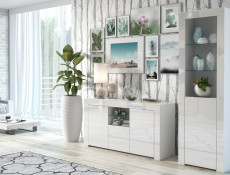Modern White High Gloss Furniture Set: Sideboard / Lowboard & Tall Bookcase Glass Display Cabinet - Lily