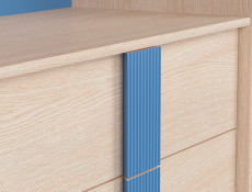 Tall Bookcase Shelving Unit with Drawers Blue & Oak Finish - Caps