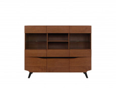 Retro Wide 5-Door Display Cabinet LED Lights Glass Storage Unit Living Room Brown Oak - Madison