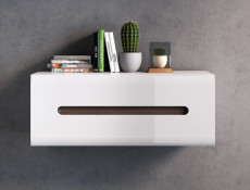 White High Gloss Modern Wall Shelf Cabinet Storage Unit with White Gloss/Wenge Dark Wood Effect/Black Gloss Inserts - Azteca Trio
