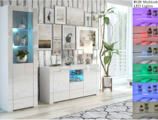 Modern White High Gloss Furniture Set with RGB LEDs: Sideboard / Lowboard & Tall Bookcase Display Cabinet - Lily (HOF-LILY-2D1K+SLUPEK-BI/BIP-LED-RGB)