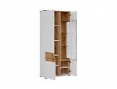 Modern White & Oak Tall Display Cabinet Dresser Buffet Unit 3 Soft Close Doors LED Lights - Alamo