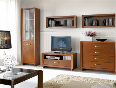 Traditional Wall Cabinet Shelf Open Unit Cherry Solid Wood - Alevil (S113-SFW/100-CME-KPL01)