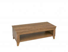 Traditional Light Oak Rectangular Coffee Table with Shelf 130cm Living Room Storage - Bergen