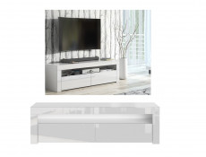 Modern White High Gloss Furniture Set: Tall Display Cabinet Bookcase & Entertainment Stand TV Unit - Lily