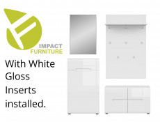 Modern Hallway 4-Piece Furniture Set Storage Cabinet Units White/White High Gloss 3 Inserts - Azteca Trio
