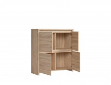 Modern Compact Sideboard Square Storage Cabinet in Sonoma Oak - Kaspian (S128-KOM4D-DSO/DSO-KPL01)