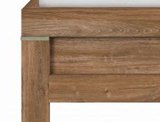 Modern European 160cm King Size Bed Frame in Medium Oak Effect With Solid Wood Slats - Gent (S228-LOZ/160-DAST-KPL01+WKL160/L21-BK)