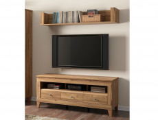 Traditional Light Oak Wide TV Cabinet Media Bench with Drawers & Wall Storage Shelf Panel Unit 156cm Set - Bergen