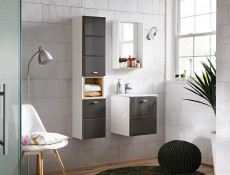 Modern Grey Gloss Vanity Cabinet Wall Mounted Bathroom Unit with Sink 400mm 40cm - Finka