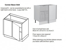 Light Dove Grey Gloss Kitchen Units Corner Set of 11 Cabinets with Oven Housing Unit - Luna