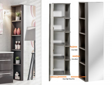Modern 4-Piece Wall Bathroom Furniture Set Cabinet Storage Units Soft Close Grey/Grey Gloss - Twist