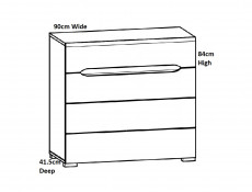Wide Four Drawer Bedroom Storage Chest of Drawers in Light Oak Effect Finish - Elpasso