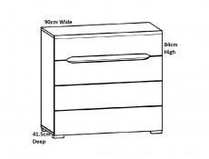 Wide Four Drawer Bedroom Storage Chest of Drawers in Light Oak Effect Finish - Elpasso (S314-KOM4S/90-DSAJ/DWB-KPL01)