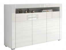White High Gloss Sideboard Contemporary 3 Door Unit Display Cabinet - Lily