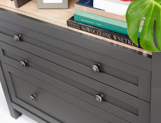 Modern Glass Display Sideboard Cabinet Unit Lowboard with Drawers Country Grey / Oak Effect - Bocage