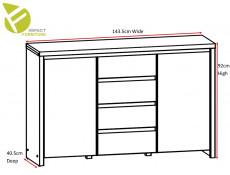 Modern Large Sideboard Dresser Cabinet Storage Drawers in White Matt - Kaspian (S128-KOM2D4S-BI/BIM-KPL03)