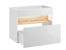 Modern White Gloss Wall Vanity Cabinet 800 Unit with Designer Oak Shelf LED Light 80cm Ceramic Sink - Bahama