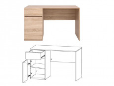 Modern Teenage Desk Home Office Storage Unit in Sonoma Oak Finish - Academica