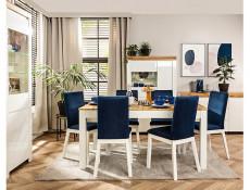 Scandinavian Modern Dining Room Chair White Solid Wood Frame &Grey Velvet Upholstery - Holten