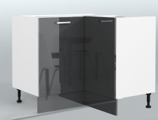 Free Standing Grey Gloss Kitchen Cabinet Corner Base Unit 90cm x 90cm - Modern Luxe