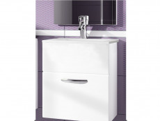 Wall Mounted Bathroom Vanity Unit Cabinet with Sink Basin 600mm White High Gloss - Coral (STO-CORAL-DUM_60S/1_YRSA-BI/BIP-KP01)
