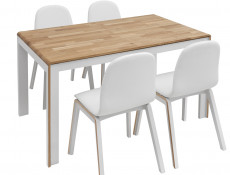 White & Oak Extending Dining Table and 4 Moulded Chairs Dining Room Furniture Set - Bari