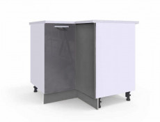 Free Standing White/Grey Gloss Kitchen Cabinet Corner Base Unit - Modern Luxe (Luxe DRP PL)