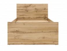 Modern Single Bed Frame Headboard Slats Underbed Storage Drawer Oak Effect - Zele