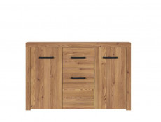Modern Large Sideboard Cabinet 3 Doors 1 Drawer Unit in Oak Finish - Vasto
