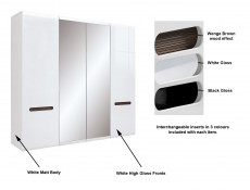 White Gloss Four Door Wardrobe Mirror, Hanging Rail, Shelves & White/Wenge/Black Gloss Insert - Azteca Trio (S504-SZF2D2L/21/22-BI/BIP-KPL01)