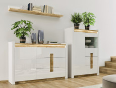 Modern White Gloss Glass Display Cabinet Storage Unit with LED Lights Oak finish top - Alameda