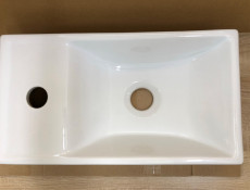 Modern White Gloss / Oak Wall Vanity Cabinet with Sink Bathroom Cloakroom Compact 40cm Unit - Aruba