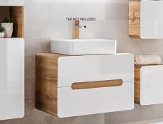 Modern White Gloss / Oak Wall Vanity Bathroom Cabinet 80cm Counter Top Drawer Unit with Sink Basin - Aruba (ARUBA_829-80_CM+CFP-6289_DP)